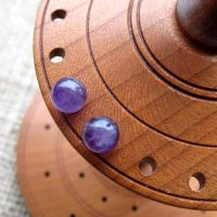 Sterling silver Amethyst gemstone ball stud earrings 6mm