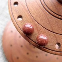 Sterling silver Goldstone gemstone ball stud earrings 6mm display