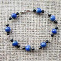 Sterling silver Lapis Lazuli Onyx bracelet