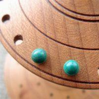 Sterling silver Malachite  gemstone ball stud earrings 4mm display