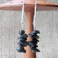 Sterling silver black Obsidian tumblechip earrings display