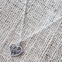 Sterling silver mother heart necklace