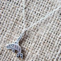 Sterling silver native American tribal whale necklace