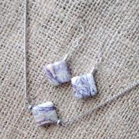 Sugulite silver earring & necklace set