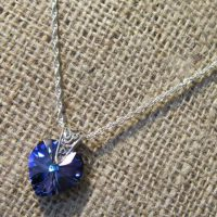 Swarovski crystal Heliotrope blue heart Sterling silver twist necklace
