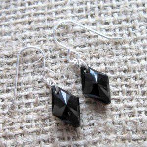 Swarovski crystal Jet black 14mm diamond Sterling silver earrings
