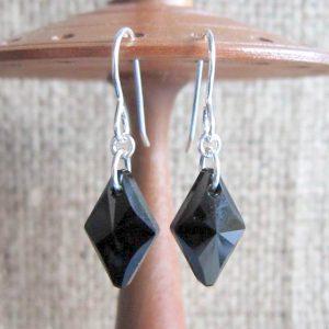 Swarovski crystal Jet black 14mm diamond Sterling silver earrings display