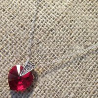 Swarovski crystal Siam red heart Sterling silver necklace
