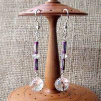 Swarovski crystal disc long purple dangle silver earrings display