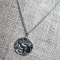 Three headed dragon silver necklace