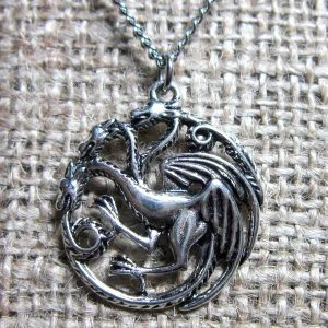 Three headed dragon silver necklace pendant