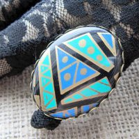 Turquoise Aztec bronze ring display