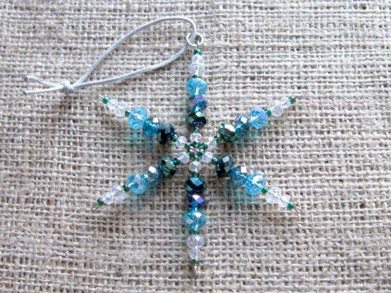 Turquoise and aqua crystal beaded snowflake ornament 01