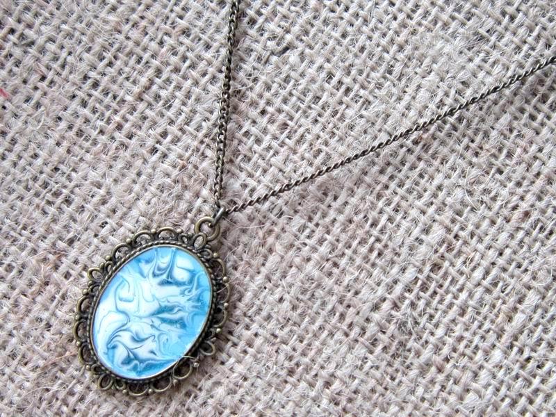 Turquoise aqua swirl bronze necklace