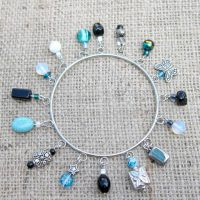 Turquoise & black beaded silver charm bangle