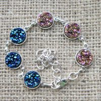 Two tone druzy silver bracelet