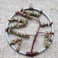 Unakite beaded Tree of Life wall ornament