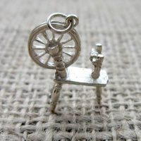 Vintage Sterling silver 3D spinning wheel charm pendant standing