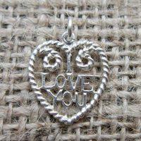 Vintage Sterling silver I Love You heart pendant