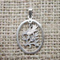 Vintage Sterling silver bird oval pendant