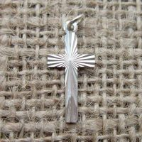 Vintage Sterling silver diamond cut cross charm pendant