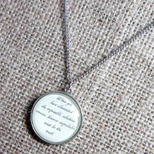 When You Have Eliminated The Possible Sherlock Holmes quotation silver necklace