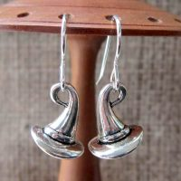 Witches hats silver earrings display