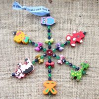 Wooden animal beaded snowflake ornament 1