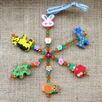 Wooden animal beaded snowflake ornament 2