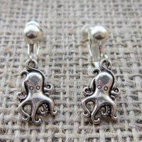 cute octopus silver clip on earrings