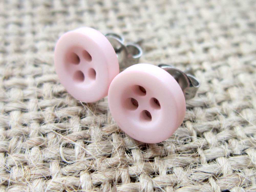 Baby Pink 8mm Hypoallergenic Button Stud Earrings Dragonrat Jewellery