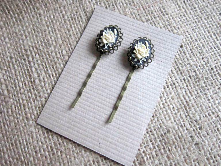 Black & Cream Rose Cameo Hair Grips (s)   Dragonrat Jewellery