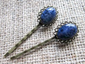 Blue Sodalite bronze hairgrip