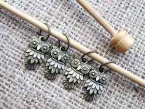 Bubo owl knitting stitch marker set display