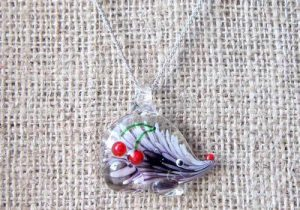 Lampwork glass hedgehog silver necklace