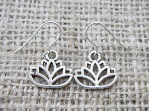 Lotus flower silver earrings front