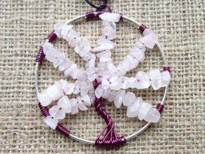 Rose Quartz beaded 70mm Tree of Life wall ornament 1
