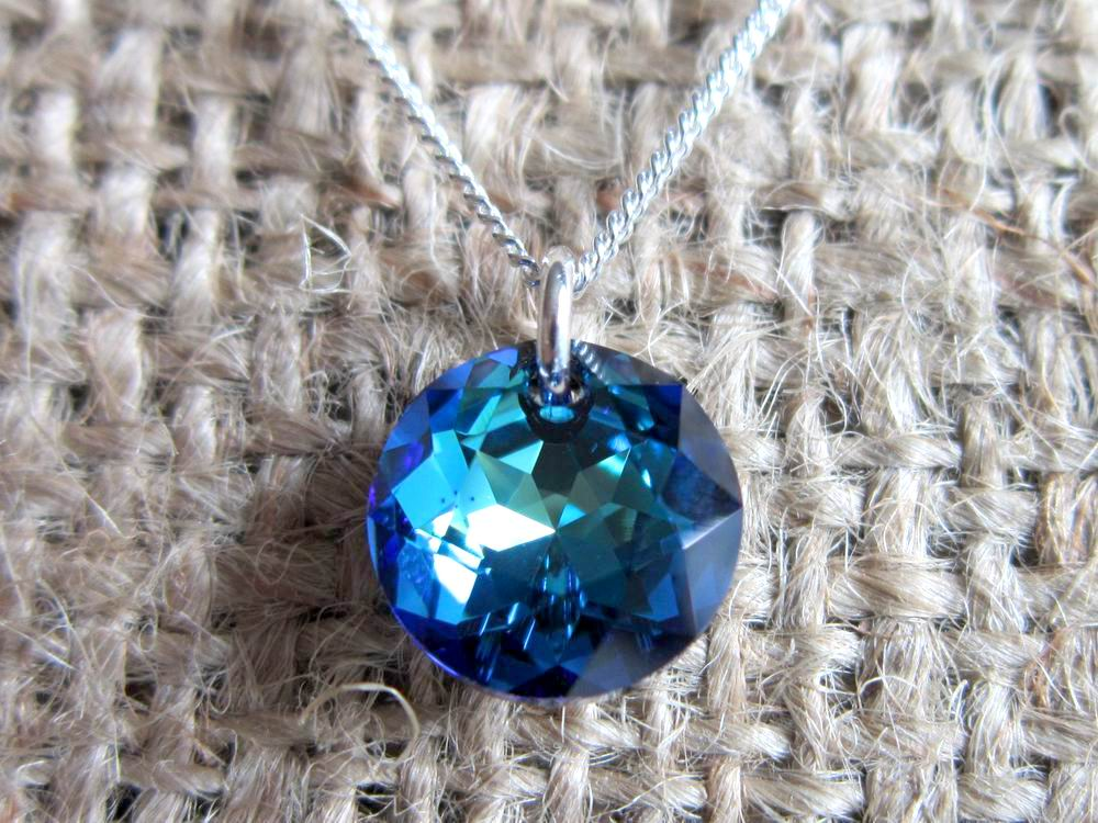 Swarovski Crystal Bermuda Blue Classic Cut Round Sterling Silver Necklace