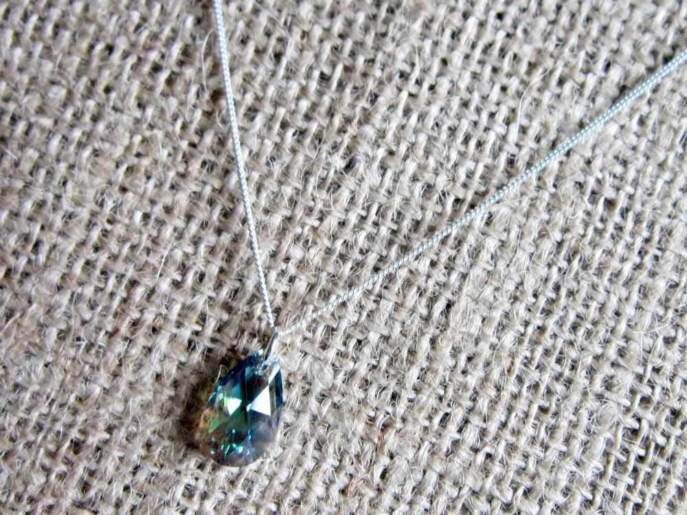 d7d3813a8 Swarovski Crystal Erinite Shimmer 16mm Pear Drop Sterling Silver Necklace