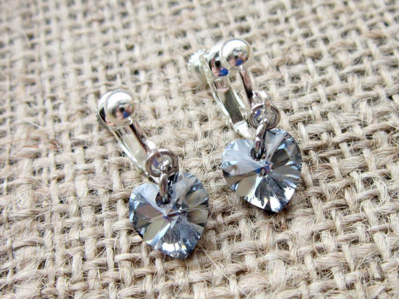 Light Chrome Swarovski Crystal Heart Silver Clip On Earrings