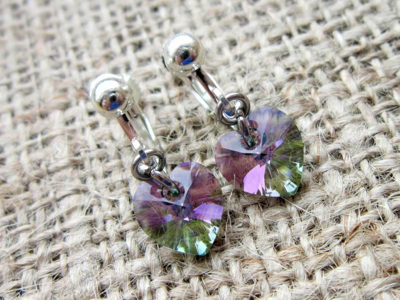Paradise Shine Swarovski Crystal Heart Silver Clip On Earrings