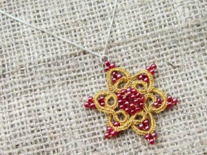 Tatted lace snowflake necklace